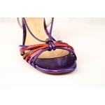 Sandalia Salto Bloco Metalizada Roxa Com Tiras Coloridas - Luiza Barcelos