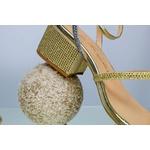 Sandália Salto Baixo Dourada - Luiza Barcelos