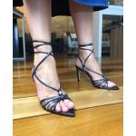 Sandália Metalizada azul com tiras coloridas - Luiza Barcelos
