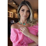 Colar Luxo Esmeralda Colombiana intercalada com Cristal No Banho de Ouro 18K