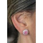 Brinco Light Pink Coração Toda volta cravejada com micro zircônia no banho de ródio