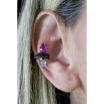 Piercing 2 Gotas Aqua e Turmalina Rosa no banho de Ródio Black