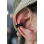 Piercing Ttodo cravejado com Micro Zircônias negras no banho de Ródio Black