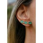 Brinco Ear Cuff Esmeralda No Banho de Ouro 18K