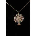 Colar Árvore da Vida, com mini corações coloridos No Banho de Ouro 18K