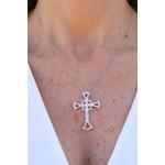 Colar Crucifixo Toda Volta Cravejada com Micro Zircônia no Banho de Ródio