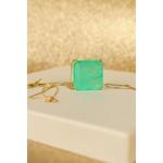 Colar Quadrado Esmeralda Colombiana no banho de Ouro 18K