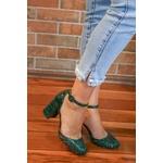 Sandalia Wild Berna Pinheiro, salto bloco alto, verde musgo - Luiza Barcelos