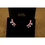 Brinco Ear Cuff Estrelas penduradas Light Pink