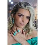 Brinco Gota Esmeralda Colombiana Toda Volta Cravejada
