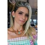 Colar Coração no Esmeralda Colombiana No Ouro 18K
