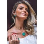 Brinco Coração Pedra Esmeralda Colombiana, toda volta cravejada com Zircônias Baguete