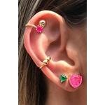 Piercing 2 em 1 Turmalina Rosa no banho de Ouro 18k
