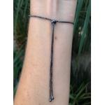 Pulseira regulável modelo riviera zirconias negras no banho rodio black