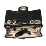 Bolsa em couro legitimo preta Donna Clô