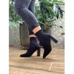 Bota meia com matelassê preta Donna Clô