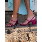 Sandália metalizada pink Donna Clô