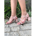 Sandália rose em couro Donna Clô