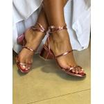 Sandália metalizada light pink Donna Clô