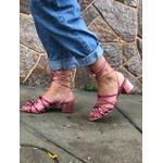 Sandália bico folha rosa e pink Donna Clô