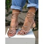 Sandália bico folha metalizado rose Donna Clô