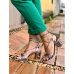 Sandália salto bloco com tiras metalizado Donna Clô