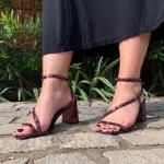 Sandália salto bloco marsala Donna Clô