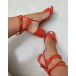 Sandália tira trança coral Donna Clô