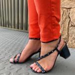 Sandália salto bloco azul marinho Donna Clô
