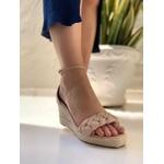 Sandália anabela nude salto corda OFFLINE