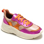 Tênis couro pink e laranja Donna Clô