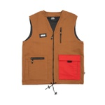 Color Block High Vest Brown/Red