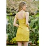 Cropped de Couro Feminino Amarelo