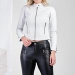 Jaqueta de Couro Feminina Branca Verônica
