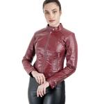 Jaqueta de Couro Feminina Shiny Vermelho Verônica