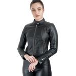 Jaqueta de Couro Feminina Preta Verônica
