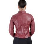 Jaqueta de Couro Feminina Vermelha Sofia