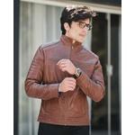 Jaqueta de Couro Masculina Caramelo Miguel