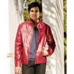 Jaqueta de Couro Masculina Shiny Vermelho Miguel