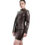 Trench Coat de Couro Feminino Marrom