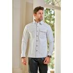 Camisa de Couro Masculina Branca Henry
