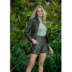 Jaqueta de Couro Feminina Verde militar Jolie