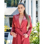 Trench Coat Botão Vermelho Feminino