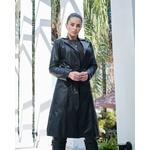 Trench Coat Botão Preto Feminino