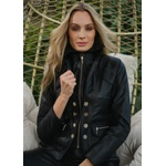 Jaqueta de Couro Feminina Preta Amy