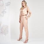 Calça de Couro Feminina Nude Bruna