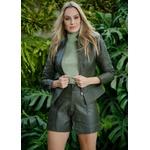 Short de Couro Verde Militar Jessica