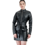 Trench Coat de Couro Feminino Preto