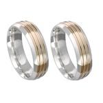 Alianças de compromisso em prata 950 trabalhada com fios de ouro 6 mm