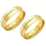 Alianças de casamento e noivado em ouro 18k 750 trabalhadas 2 tons 6 mm